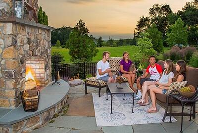 kid-friendly patio and outdoor fireplace