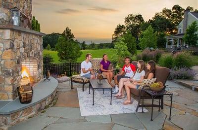 outdoor-stone-fireplace-irregular-flagstone-patio-sechrist