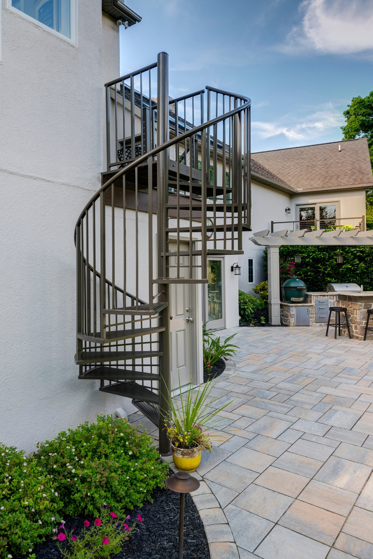patio with spiral staircase