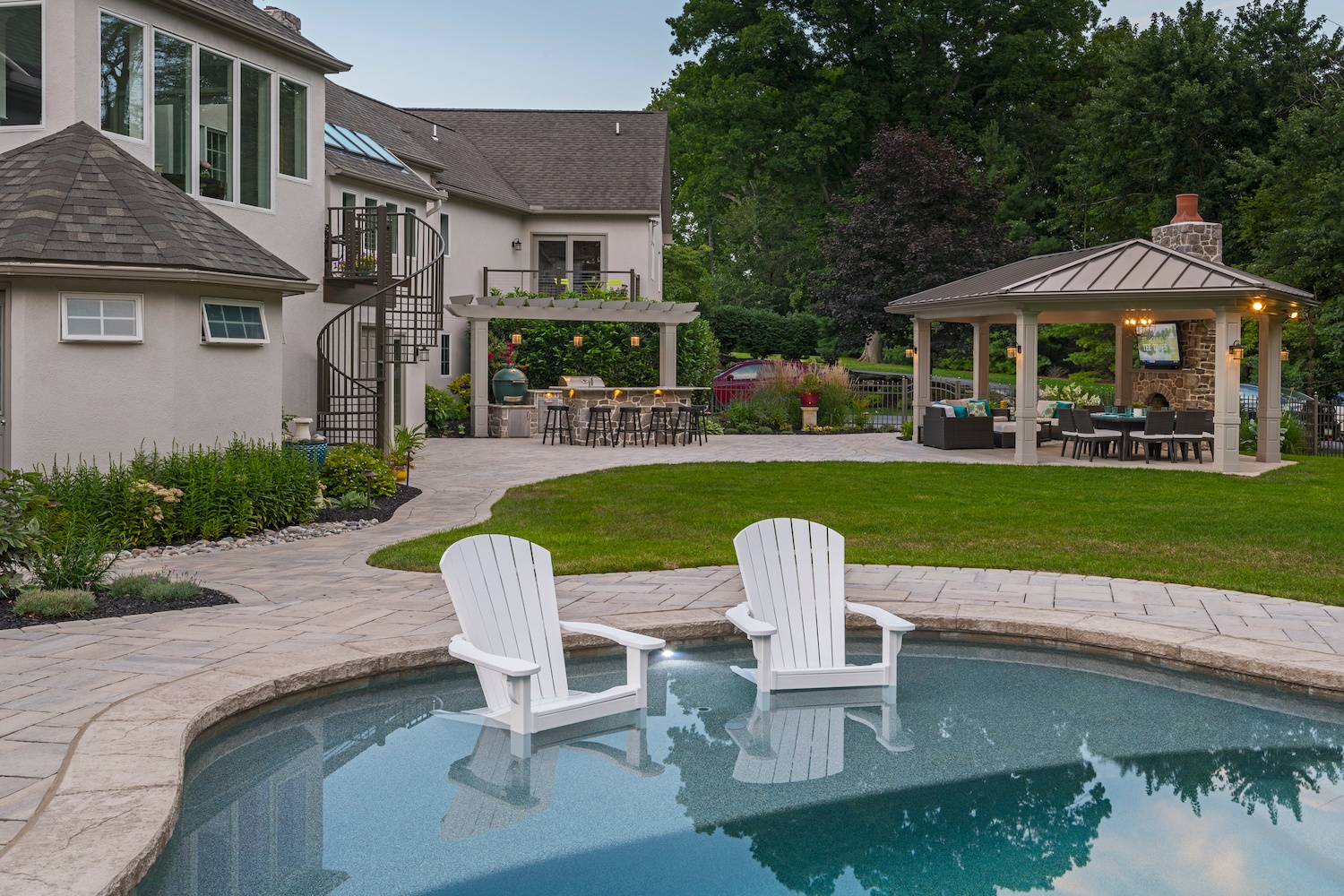 professionally designed backyard landscape in Strasburg, PA