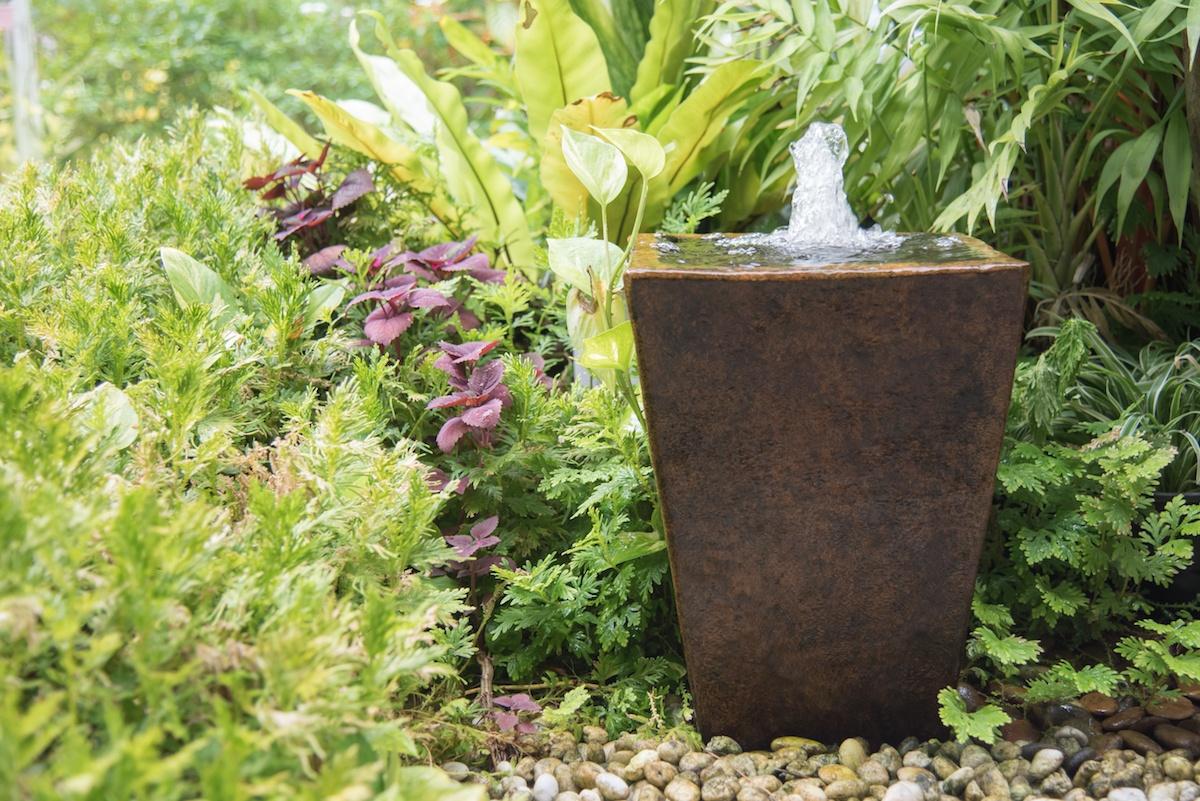 small water fountain in yard