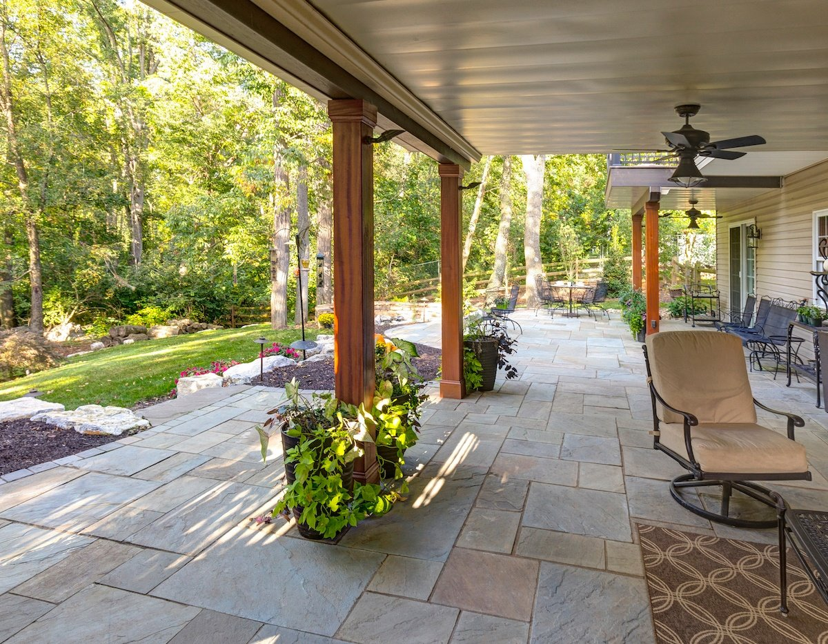 flagstone patio under deck