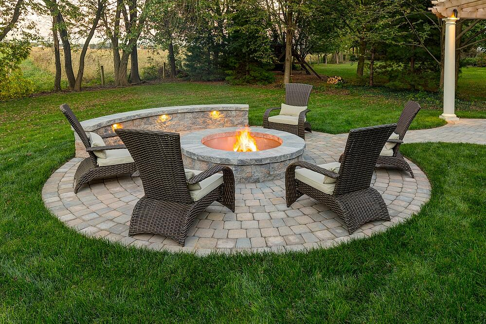 Round Fire Pit With Lighting In Lawn