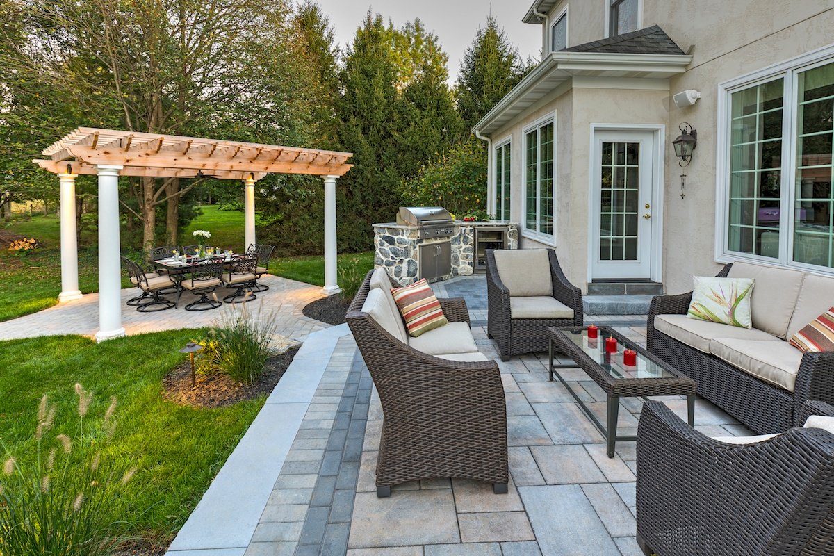 Lititz, PA landscaping case study after view of patio & pergola