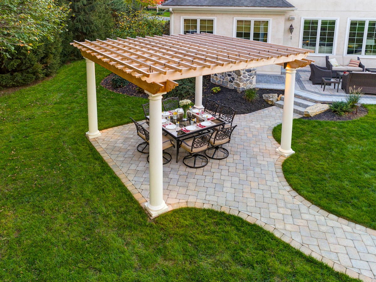 Patio with pergola and dining table
