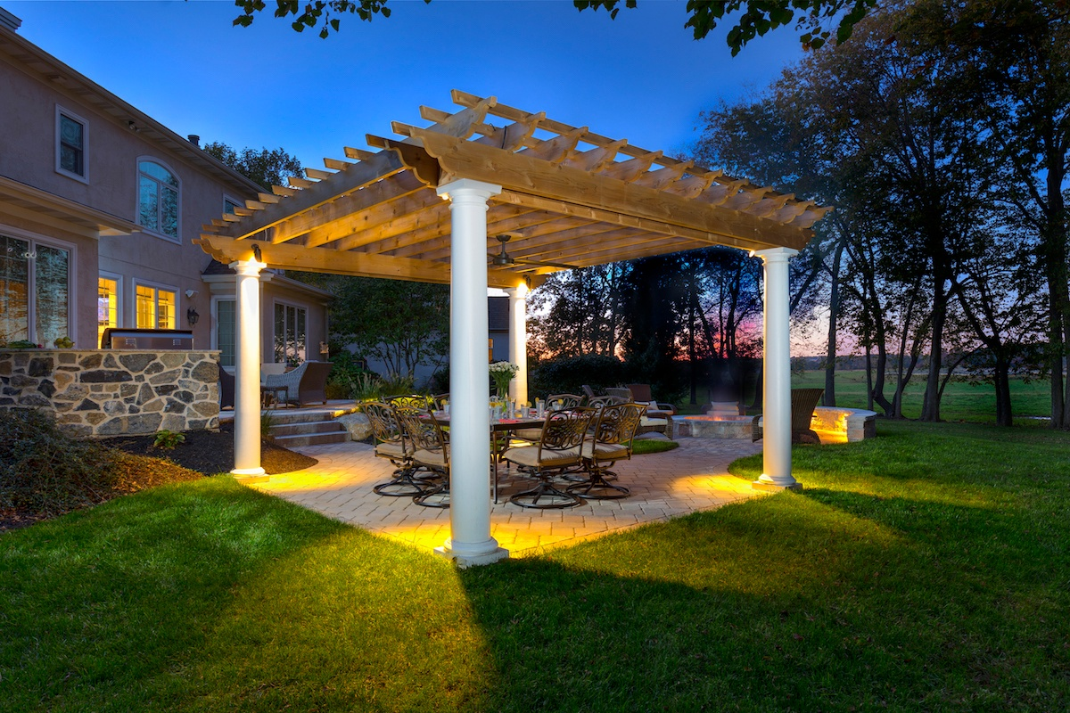Landscaping after view of pergola with lighting in Lititz, PA