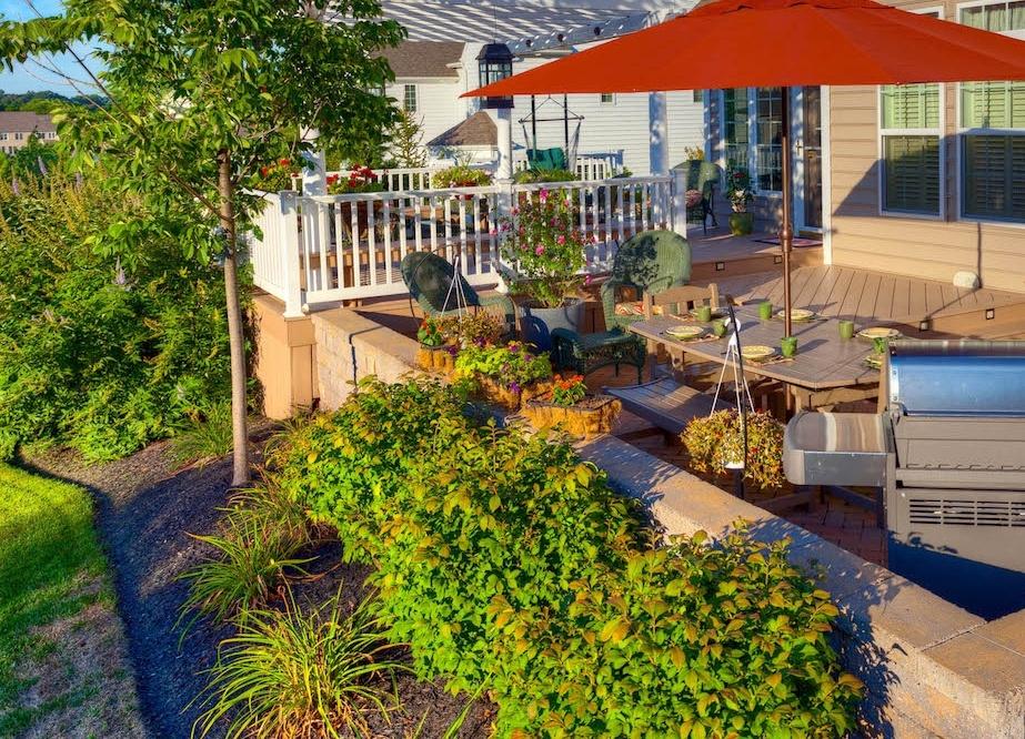 Deck With Low Maintenance Landscape Plants