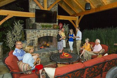 Entertainment party outdoor fireplace