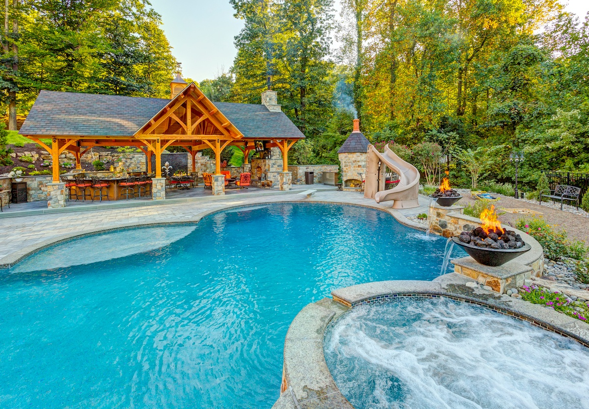 Pavilion, Pool, Outdoor Kitchen, Complete Outdoor Living Environment Near Reading, PA