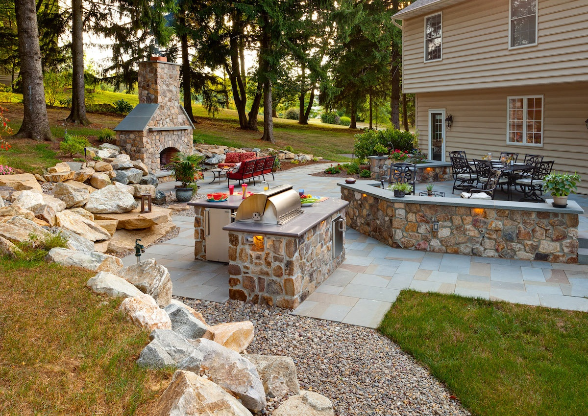 Backyard Multi-Level Patio Area with Fireplace & Outdoor Kitchen in Downingtown, PA